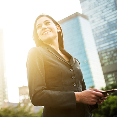 Business woman connected outside
