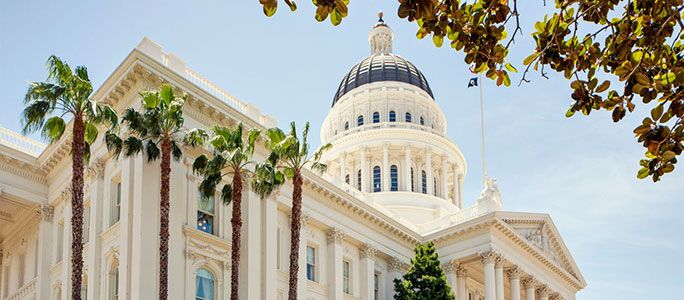 The capitol building of the State of California.