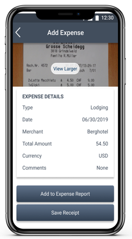 Costpoint Time and Expense Mobile Expense Screen Capture