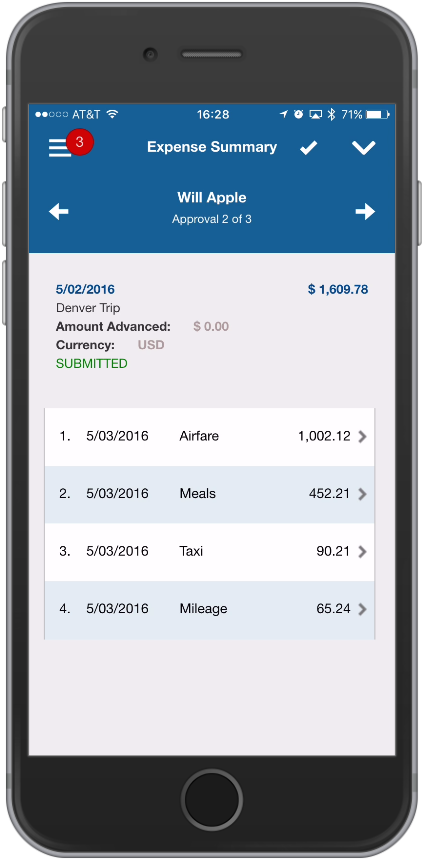 Vision 7.6 Touch Expense Approvals