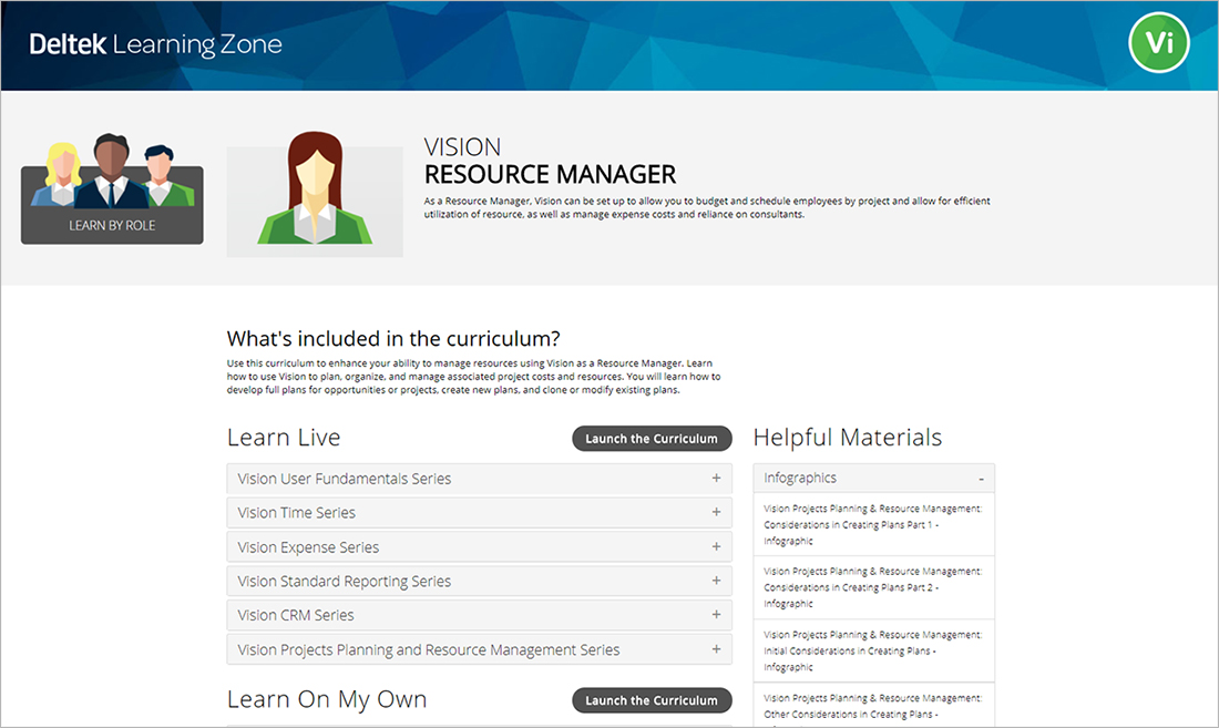 Deltek Learning Zone: Learn by Role