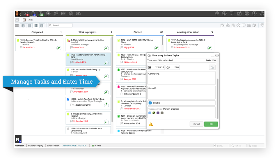 Manage Tasks and Enter Time